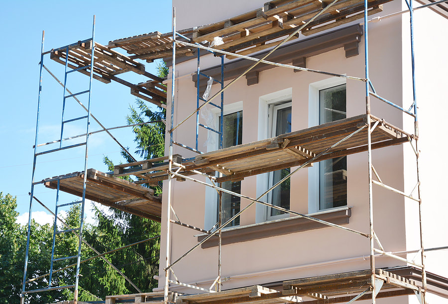 scaffolding beside the house